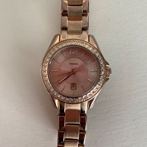 Fossil Rose Gold Pave Studded Watch